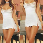 Women's Sexy Lingerie WHITE Dress Underwear Babydoll Chemise Sleepwear+G-string