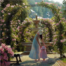 Oil painting young mother with baby in spring garden with nice flowers pet cat