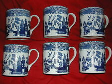 SET OF SIX BRAND NEW FINE BONE CHINA MUGS  WILLOW PATTERN FREE POST
