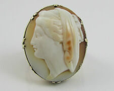 Vintage Edwardian Large Shell Cameo 9ct Gold Ring Size 'N' 7.0 Grams