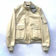 NWT $5.4k TOM FORD Men's Cream Beige Lambskin Leather Bomber Jacket M AUTHENTIC