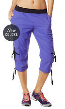 Zumba Fitness Oh-So-Soft Stretch Cargo Capri Pants Purple Moon Size XS NWT