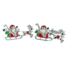 Santa in Sleigh Coloured Cufflinks Gift Boxed links AJ610 father Christmas BNIB