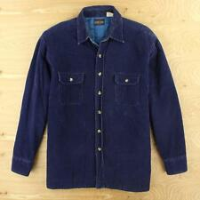 COUNTRY TOUCH lined corduroy work shirt jacket LARGE fade distressed blue vtg