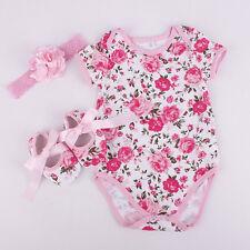 3pcs/set Newborn Infant Baby Girls Romper Pajamas Jumpsuit Outfits Clothes 0-12M