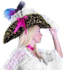 Lacey Pirate Lady Hat Black Green Fancy Dress Halloween Adult Costume Accessory