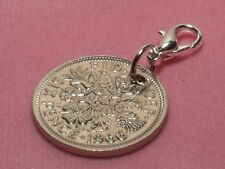 1957 60th Birthday lucky sixpence coin bracelet charm ready to hang