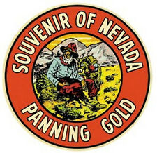 Nevada  Panning Gold   Vintage-50's Style  Travel Decal