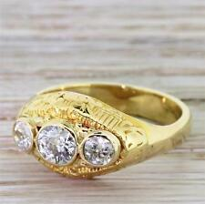 MID CENTURY 0.75ct OLD EUROPEAN CUT DIAMOND TRILOGY RING - 18k Y. Gold - c 1950