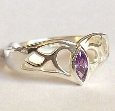 Sterling Silver Simulated Amethyst Deco Cocktail Ring Band Purple Cubic Zirconia