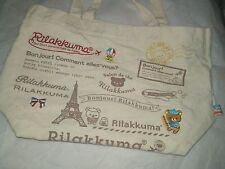 Rilakkuma Mini Tote Canvas Bag Cute Paris Air Eiffel Teddy Embroidered Colored