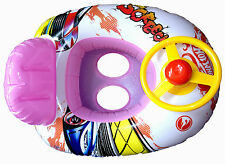 Pink  Racing Car, With Steering Wheel and Horn, Baby Swim Seat/ Boat, New