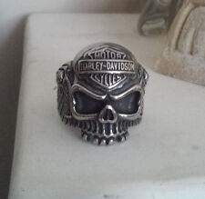 STAINLESS STEEL BIKER MOTORCYCLE PUNK VINTAGE SKULL MEN RING SIZE 11