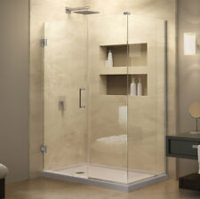 "UnidoorPlus 36"" x 32"" Shower Enclosure with Stationary Panel, 3/8"" Clear Glass"
