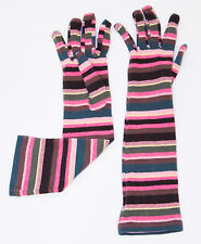 GIUSEPPE MELLONE Long STRIPED Multi FITTED Gloves ITALY One Size FREE SHIPPING