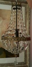 Antique1800's French Empire Crystal Basket Style Ceiling Chandelier Art Deco