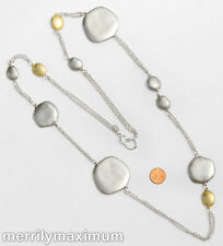 Chico's Signed Necklace Long Silver Tone Chains & Abstract Disks Gold Accents