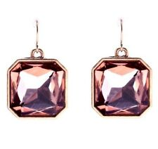 ROSE BLUSH PINK SQUARE CUT CRYSTAL RHINESTONE Gold Dangle Drop Hook Earrings