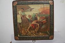 Boite tole ancienne lithographiée pèche ELAH MOLIE caramel  Antique Tin Box
