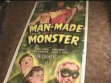 "MAN MADE MONSTER '41 3 SHT MOVIE POSTER 41""X 81"" UNIVERSAL HORROR LON CHANEY JR"
