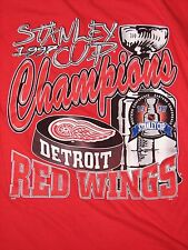 DETROIT RED WINGS SHIRT VINTAGE RARE STANLEY CUP CHAMPIONS BACK TO BACK 97 NHL