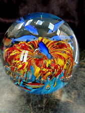 BEAUTIFUL Murano Glass Globe Ball COLORFUL DOLPHIN Anemone FISH - BUBBLES Italy!