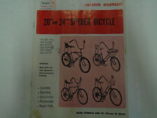 "20"" & 24"" Spyder Bicycle Owners Manual Sears Sports Center Rare Factory OEM Book"