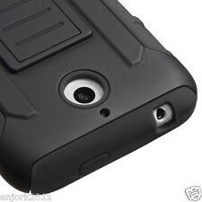 HTC Desire 510 Hybrid AA Cover w/Kickstand C Armor Skin Case Black