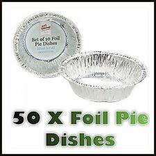 "50 x Pcs 4½"" FOIL PIE DISHES CASES ROUND FRUIT PIES DISH DISPOSABLE TRAY CAFE"