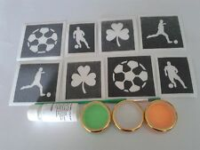 Irish football themed glitter tattoo set   Ireland shamrock  players