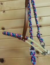 New Rainbow Wrapped Rope Noseband and Tie Down Set. Horse Tack