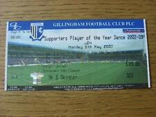 05/05/2003 Ticket: Gillingham - Supporters Player Of The Year Dance (Complete).