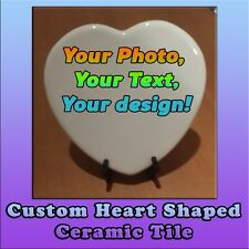 CUSTOM DESIGN, Your photo, text, logo - Easter  Gift Heart Shaped Ceramic Tile