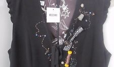 Moschino Italian Fun Sewing Detail Embellished USA Sz10 NWT Little Black Dress
