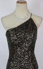 Terani Sequin Bronze $200 Prom Size 0 Short Gown Evening Dress One-shoulder