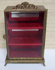Beautiful Vintage Ormolu Triple Shelf Glass Jewelry Casket Box