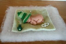 "2.5""MINIATURE OOAK POLYMER CLAY BALD BABY BOY/GIRL DOLL ~ WITH HANDMADE FROG"