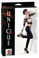 2900920 LATEX UNIQUE Leggings Donna Nero a Vita Alta in Latex Vero Lattice Tg. S