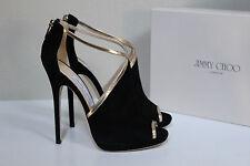 New Jimmy Choo Fey Black Suede Open Toe Ankle Sandal Heel Shoes sz 10.5 / 40.5