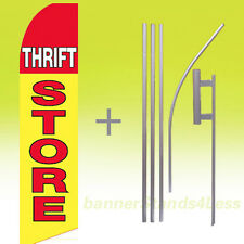Feather Swooper Flutter Tall Banner Sign Flag 15' Kit- THRIFT STORE yb