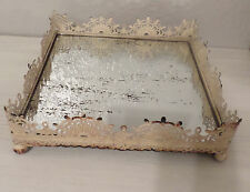 1 AGED VINTAGE METAL CREAM SHABBY CHIC VANITY MIRROR TRAY HOME TABLE DECOR - NEW