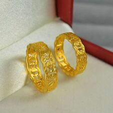 Genuine 24k Yellow Gold Ring Women Luck Six-word Motto Fashion Ring USize:6 1.7g