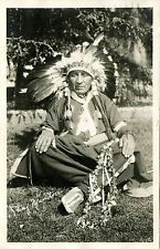 PORTRAIT OF INDIAN CHIEF MANITOU & ORIGINAL ca 1925 REAL PHOTO POSTCARD