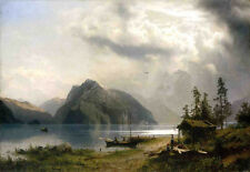 Landscape with Lake and Mountains  by Herman Herzog   Giclee Canvas Print Repro