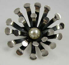 Estate Vintage SOSA Sterling Silver Pearl Flower TAXCO MEXICO Brooch Pin Pendant