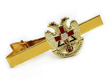 Scottish Rite Masonic Eagles & Cross Tie Clip / Tie Bar Gold Color Red Cross