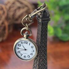 Retro Bronze Quartz Movement Keychain Keyring Watch Pocket Watch Round Dial FE