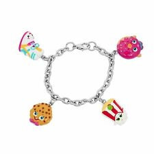 Shopkins Painted Character Charm Bracelet Sneaky Wedge, Kooky Cookie, Poppy Corn