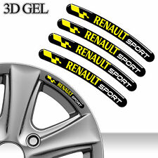 4 DOMED 3D RIM WHEEL STICKERS STRIPE RENAULT SPORT CAR AUTO EMBLEM TUNING C89