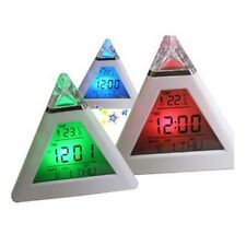Digital 7 LED Pyramid LCD Alarm Clock Calendar Thermometer Temperature Gauge New